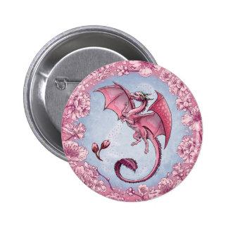 Dragón rosado del arte de la fantasía de la pin redondo de 2 pulgadas