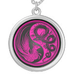 Dragón rosado y negro Phoenix Yin Yang Colgante Personalizado