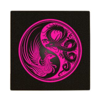 Dragón rosado y negro Phoenix Yin Yang