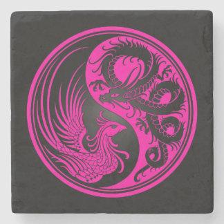 Dragón rosado y negro Phoenix Yin Yang Posavasos De Piedra