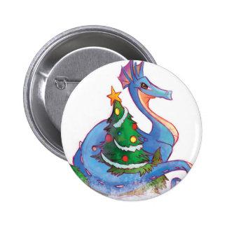 Dragon Round the Christmas Tree Pinback Button