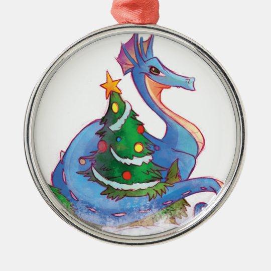 Dragon Round the Christmas Tree Metal Ornament
