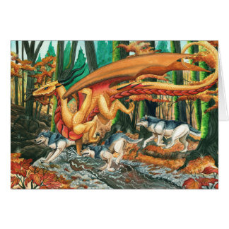 Dragon Running with Wolves by Carla Morrow Greeting Cards