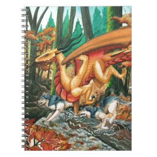 Dragon Running with Wolves by Carla Morrow Spiral Notebook