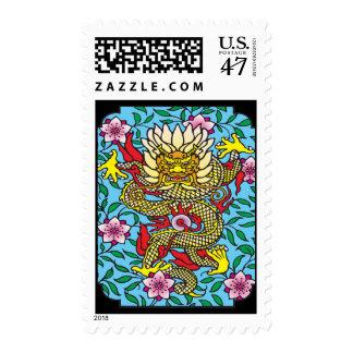 Dragon Sakura Postage Stamp