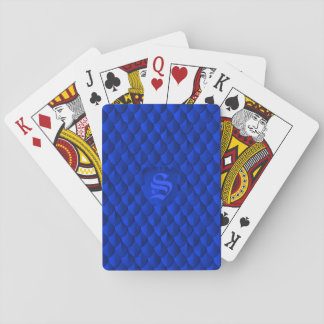 Dragon Scale Armor Cobalt Blue Monogram Playing Cards