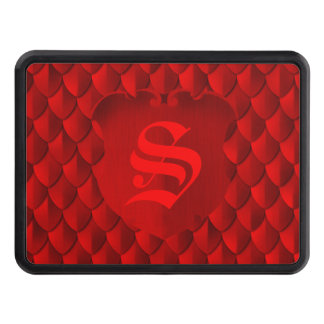 Dragon Scale Armor Crimson Red Monogram Tow Hitch Cover