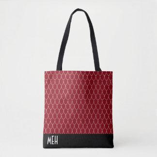Dragon Scale Red Monogram Tote Bag