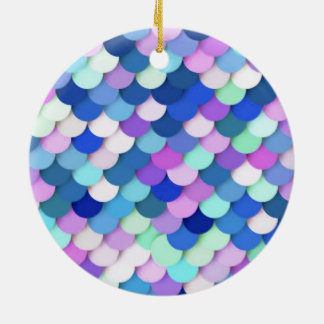 """""""Dragon Scales"""" - blue, orchid and lavender Double-Sided Ceramic Round Christmas Ornament"""