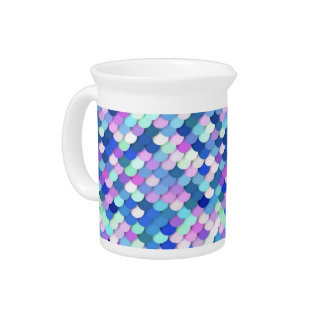 """""""Dragon Scales"""" - blue, orchid and lavender Drink Pitcher"""