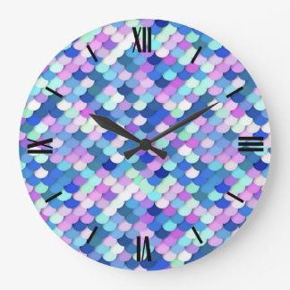 """""""Dragon Scales"""" - blue, orchid and lavender Large Clock"""