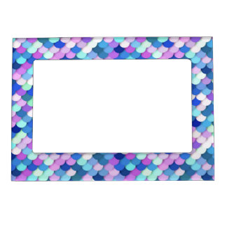 """""""Dragon Scales"""" - blue, orchid and lavender Magnetic Picture Frame"""
