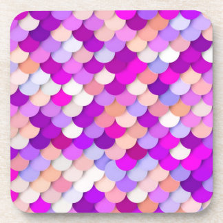"""Dragon Scales"" - purple. hot pink and peach Coaster"
