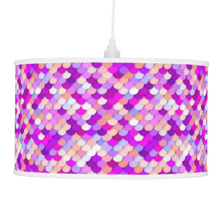 """""""Dragon Scales"""" - purple. hot pink and peach Hanging Lamp"""