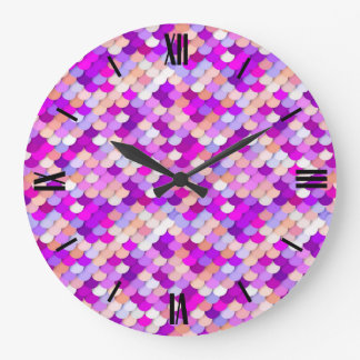 """""""Dragon Scales"""" - purple. hot pink and peach Large Clock"""