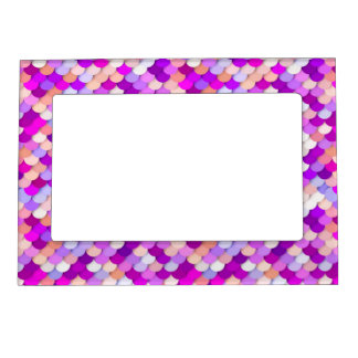 """""""Dragon Scales"""" - purple. hot pink and peach Magnetic Picture Frame"""