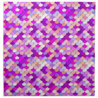 """""""Dragon Scales"""" - purple. hot pink and peach Printed Napkin"""