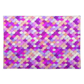 """""""Dragon Scales"""" - purple. hot pink and peach Placemat"""