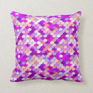 """""""Dragon Scales"""" - purple. hot pink and peach Throw Pillow"""