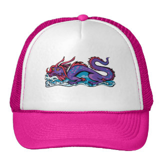 Dragon Serpent Fantasy Fiction Drawing Chinese Trucker Hat