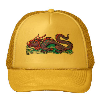 Dragon Serpent Fantasy Fiction Drawing Chinese Trucker Hats