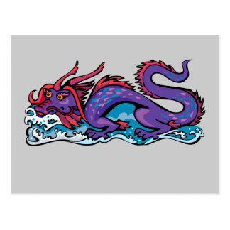 Dragon Serpent Fantasy Fiction Drawing Chinese Postcard