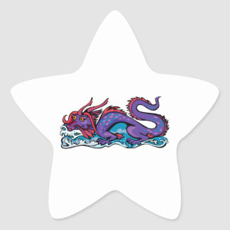 Dragon Serpent Fantasy Fiction Drawing Chinese Star Sticker