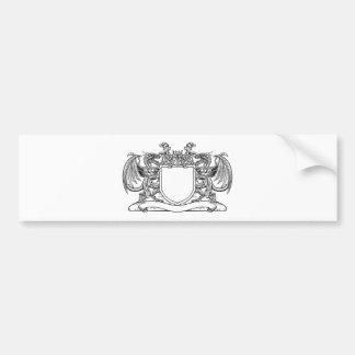 Dragon Shield Heraldic Crest Coat of Arms Emblem Bumper Sticker