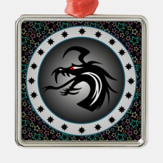 Dragon Shield Square Metal Christmas Ornament