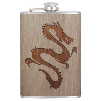 Dragon silhouette engraved on wood design hip flask
