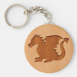 Dragon silhouette engraved on wood effect keychain