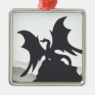 Dragon Silhouette Metal Ornament