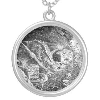 Dragon Skeleton Round Pendant Necklace