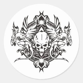 Dragon Skull Classic Round Sticker
