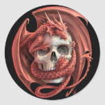 Dragon Skull Classic Round Sticker