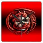 dragon skull muur klokken