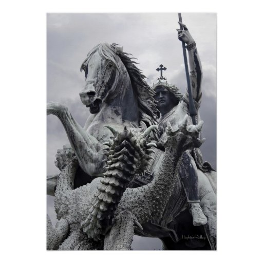 Dragon slashes at St George poster print