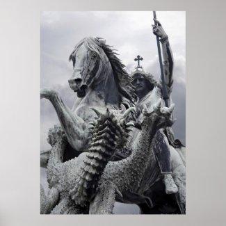Dragon slashes at St George poster print / canvas print