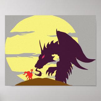 Dragon Slayer Shillouette Poster