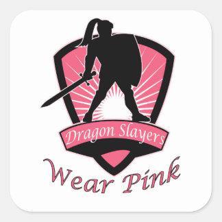 Dragon Slayers Wear Pink Woman Girl Power Design Square Sticker