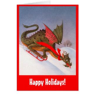 Dragón Sledding buenas fiestas Tarjeton
