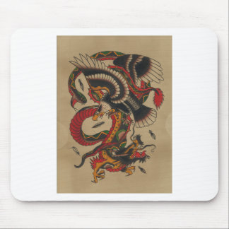 DRAGON SNAKE AND EAGLE - ORIENTAL ABSTRACT MOUSE PAD