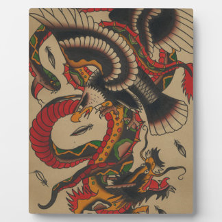 DRAGON SNAKE AND EAGLE - ORIENTAL ABSTRACT PLAQUE