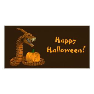 Dragon Snake Protecting A Pumpkin Card