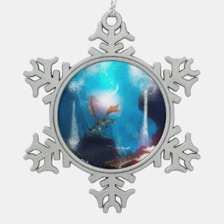 Dragon Snowflake Pewter Christmas Ornament