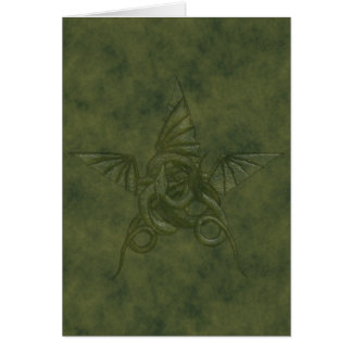 Dragon Star - Embossed Green Leather Image Card