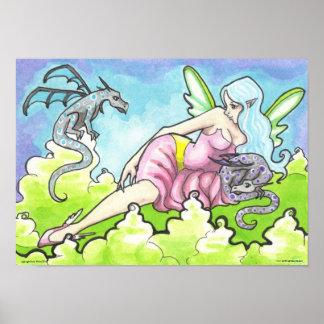 Dragon Staring Contest Fairy Fantasy Art Poster