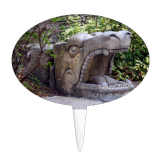 dragon statue mouth open stone cake topper