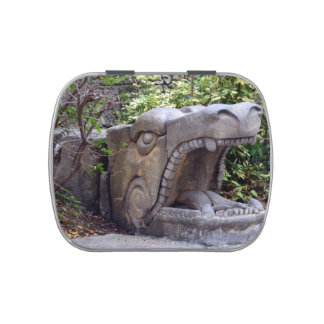 dragon statue mouth open stone candy tins