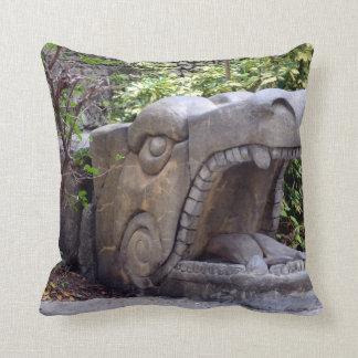 dragon statue mouth open stone throw pillow